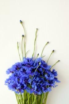 Piękne niebieskie dzikie kwiaty kwitnące. bukiet chabrów na białym tle na białej powierzchni