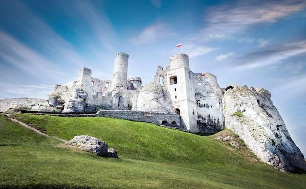 Piękne, niskie ujęcie zamku w parku krajobrazowym orlich gniazd w polsce