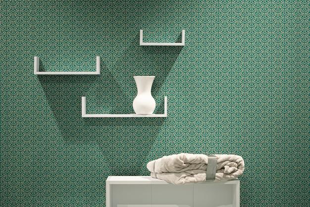 Piękne nowoczesne trzy białe półki na abstrakcyjnej ścianie.