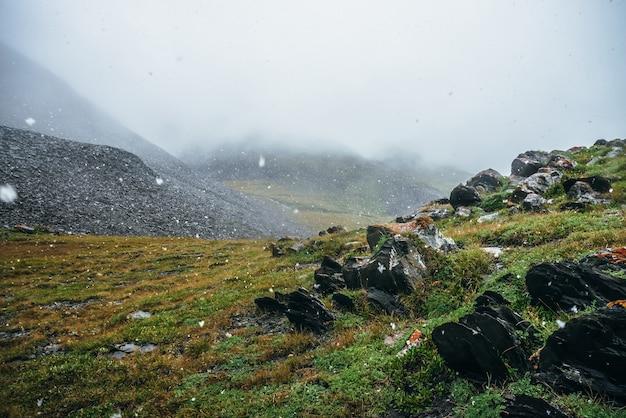 Piękne opady śniegu w wysokich górach. pointy skały na wzgórzu podczas opadów śniegu. malowniczy krajobraz z płatkami śniegu. ostre kamienie z pomarańczowym porostem. klimatyczna sceneria alpejska z dużymi płatkami śniegu.