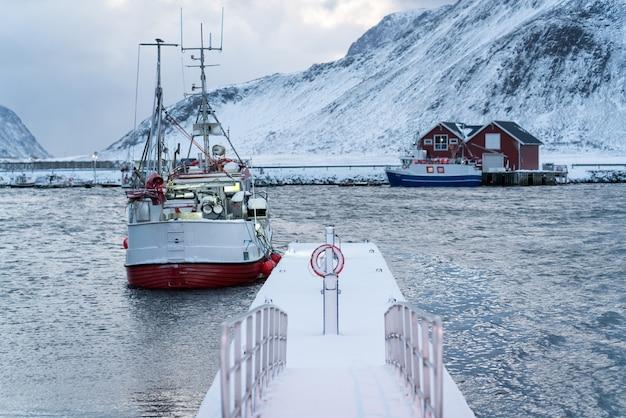 Piękne północne lofoty skandynawskie zimą