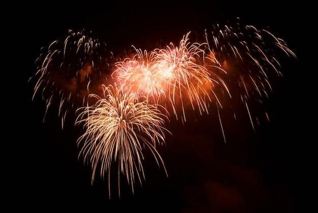 Piękne pozdrawiać i fajerwerki na tle czarnego nieba.