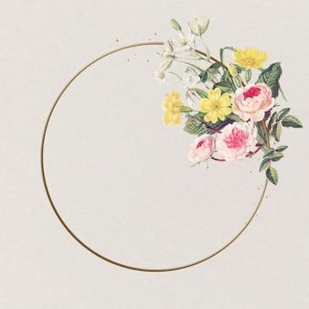 Piękne róże złotej ramie różowy kwiat vintage ilustracji