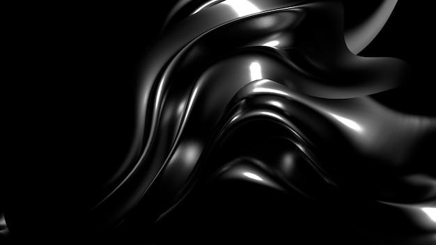 Piękne stylowe czarne tło z plisami, zasłonami i zawijasami. renderowanie 3d.