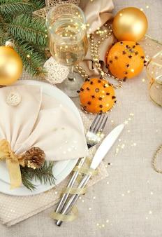 Piękne świąteczne ustawienie z bliska
