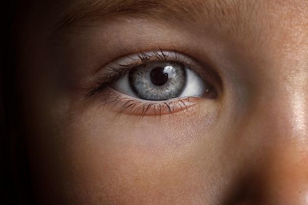Piękne szare oczy dziecka makro