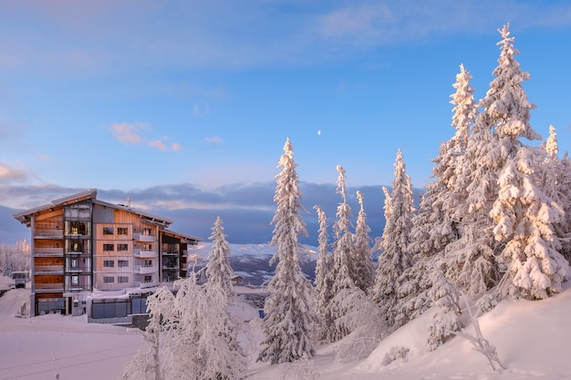 Piękne ujęcie budynku mieszkalnego w krainie śniegu
