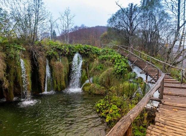 Piękne ujęcie drewnianego mostu parku narodowego jezior plitwickich w chorwacji