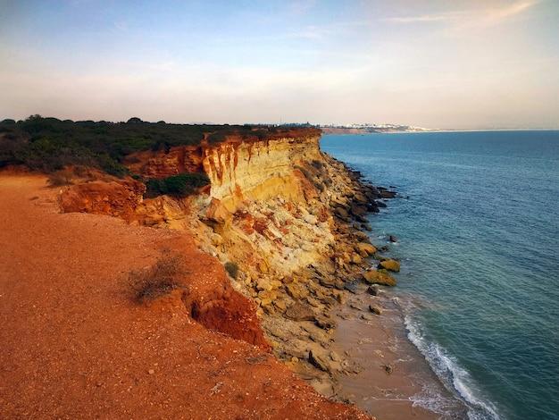 Piękne ujęcie klifu pokrytego krzakami obok plaży pełnej skał w kadyksie w hiszpanii.