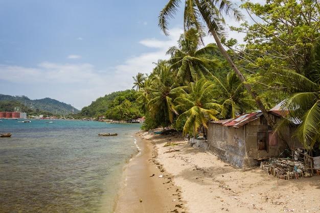 Piękne ujęcie małego domku nad brzegiem morza otoczonego palmami w indonezji