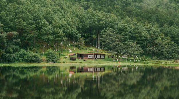 Piękne ujęcie odbić lasu i kabiny na stawie