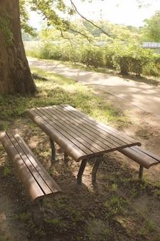 Piękne ujęcie parku z dwoma drewnianymi ławkami i stołem na pierwszym planie