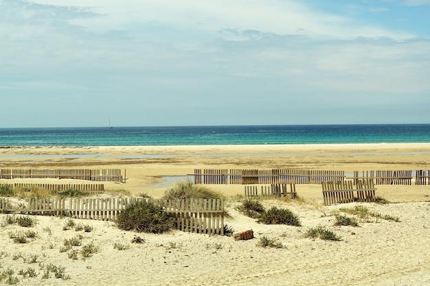 Piękne ujęcie plaży pokrytej drewnianymi płotami w tarifie w hiszpanii