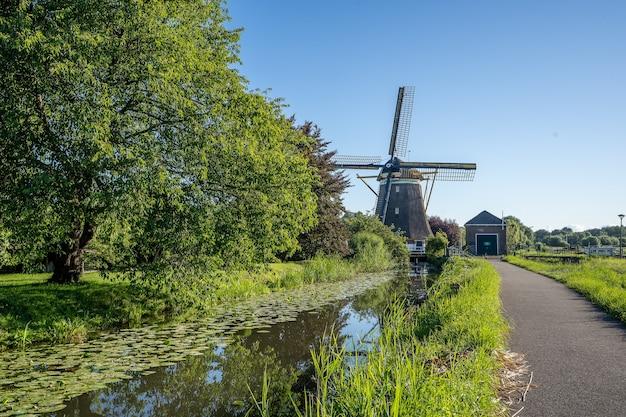 Piękne ujęcie wiatraków w kinderdijk w holandii