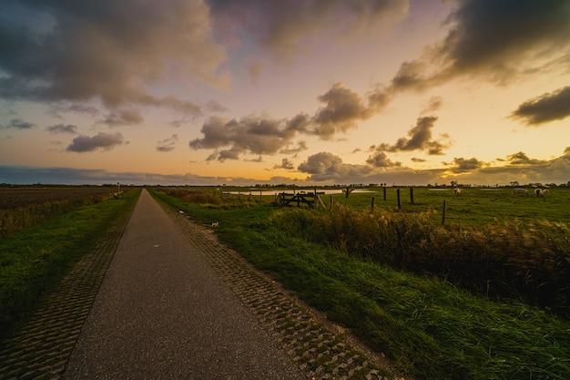 Piękne ujęcie wiejskiego krajobrazu o zachodzie słońca