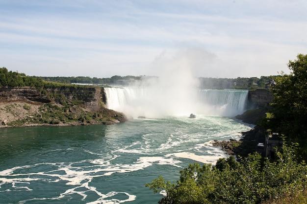 Piękne ujęcie wodospadu horseshoe falls w kanadzie