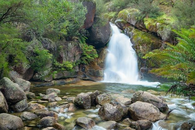 Piękne ujęcie wodospadu przepływającego w pobliżu wielu skał