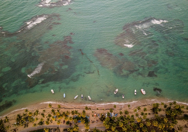 Piękne ujęcie wybrzeża morskiego z kilkoma małymi łodziami zaparkowanymi w pobliżu brzegu