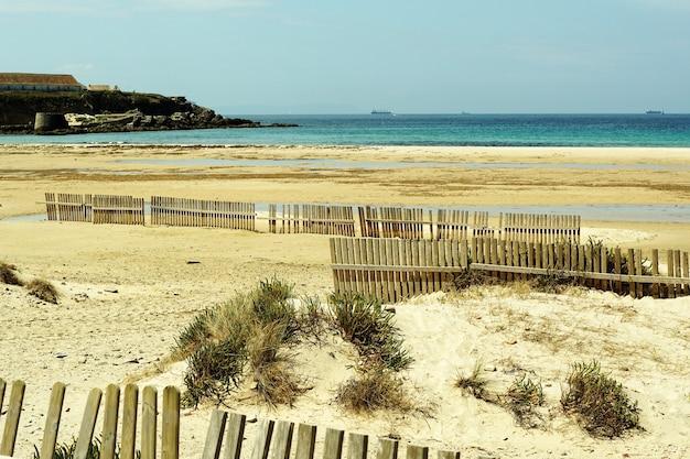 Piękne ujęcie wybrzeża pełnego drewnianych płotów na piasku