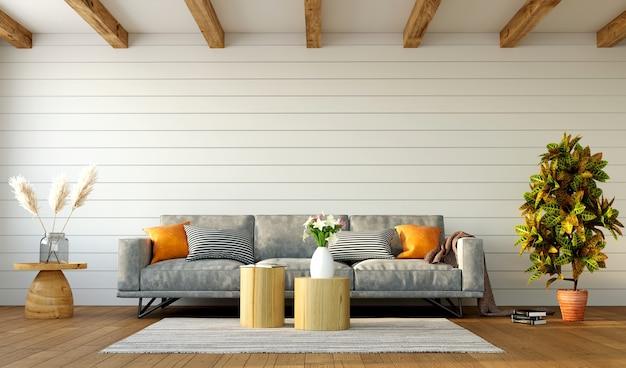 Piękne wnętrze salonu z szarej sofy na tle białej ściany i sufitu krokwi, renderowania 3d
