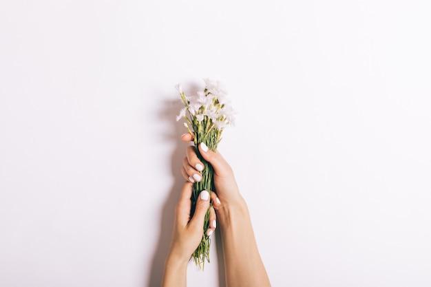 Piękne żeńskie ręki z manicure'em trzymają bukiet małych goździków na bielu