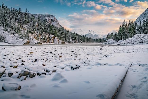 Piękne zimowe krajobrazy w lesie otoczonym wzgórzami pod pochmurnym niebem