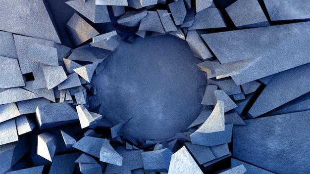 Piękne zniszczenie eksplozji z kamienną teksturą.