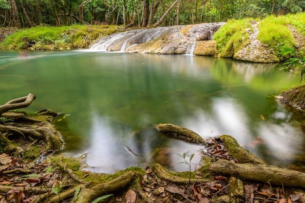 Pięknego strumienia wody tropikalnego lasu deszczowego sławna siklawa w tajlandia
