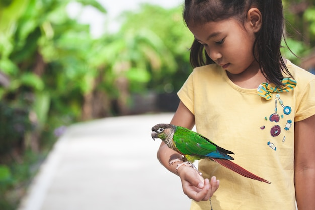 Piękni mali papuzi ptaki stoi na dziecko ręce. azjatycka dziecko dziewczyna bawić się z jej zwierzę domowe papugi ptakiem