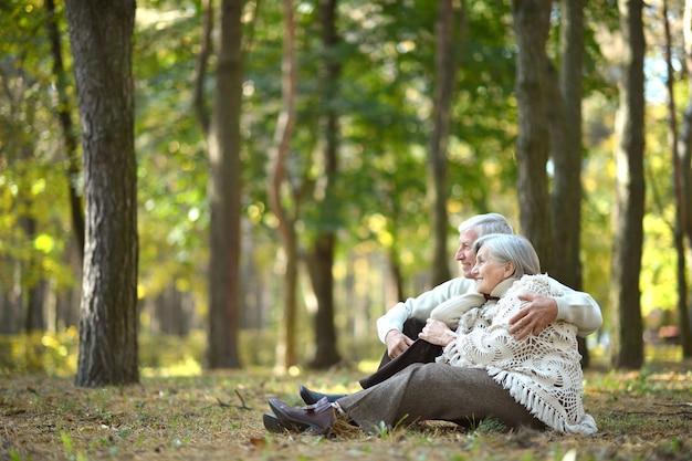 Piękni szczęśliwi starzy ludzie siedzący w jesiennym parku