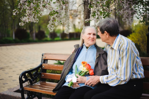 Piękni szczęśliwi starzy ludzie siedzi w jesień parku