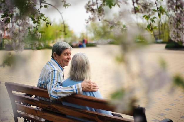 Piękni szczęśliwi starzy ludzie siedzi w jesień parku.