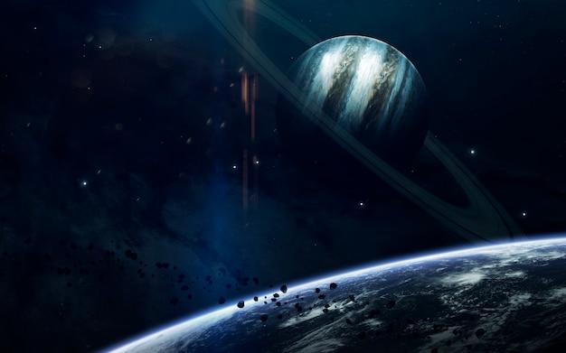 Piękno kosmosu, planety, gwiazdy i galaktyki w nieskończonym wszechświecie.