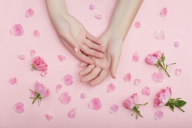 Piękno ręka kobiety z czerwonymi kwiatami leży na stole na różowym papierze