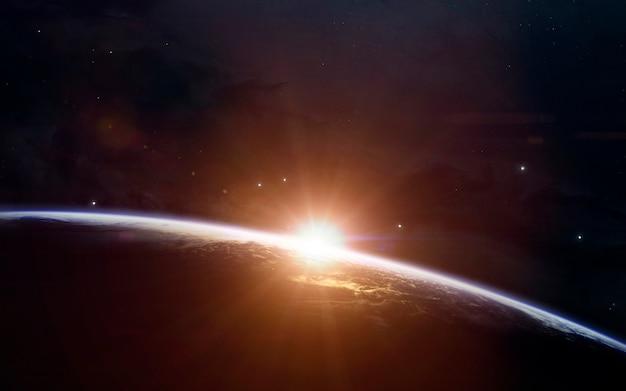 Piękno wschodu słońca na ziemi. tapeta kosmiczna science fiction, niewiarygodnie piękne planety, galaktyki, ciemne i zimne piękno nieskończonego wszechświata.