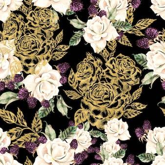 Piękny akwarela i złoty wzór graficzny z kwiatami róż i jagód. ilustracja