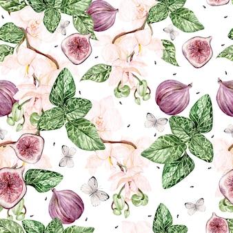 Piękny akwarela jasny wzór z kwiatów orchidei i owoców figowych. ilustracja