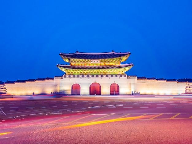 Piękny architektura budynek gyeongbokgung pałac
