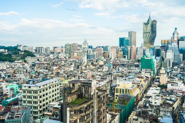 Piękny architektura budynku pejzaż miejski macau miasto