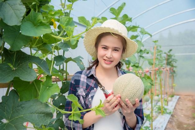 Piękny azjatykci rolnik trzyma świeżego melon który kultywował od jej organicznie gospodarstwa rolnego i ono uśmiecha się.