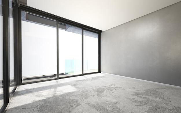 Piękny biały i jasny pokój ze światłem słonecznym przechodzącym przez