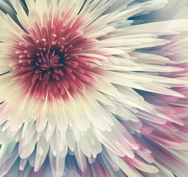 Piękny biały kwiat z bliska na pełnym ekranie. efekt malarstwa olejnego.