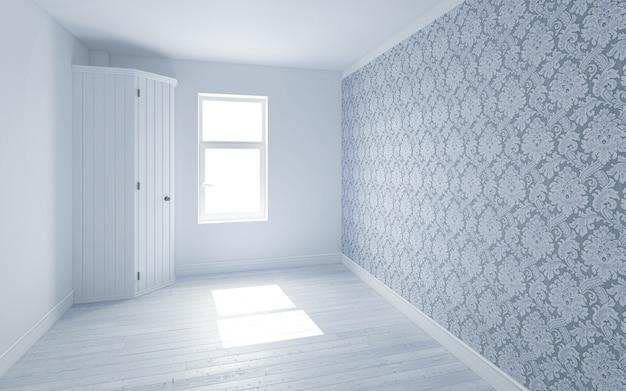 Piękny biały pokój ze światłem słonecznym przechodzącym przez