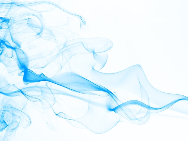 Piękny błękita dymu abstrakt na białym tle