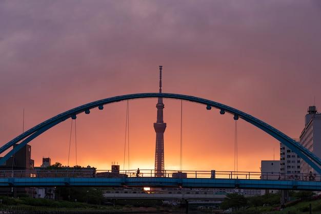 Piękny błękita most, skytree w japan przy nocą i