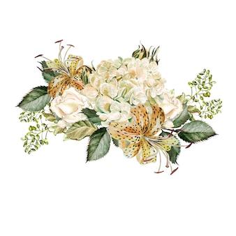 Piękny bukiet akwareli z kwiatami hortensji i lilii.