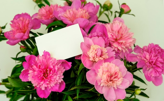 Piękny bukiet różowych piwonii z pustą białą kartką do umieszczenia wiadomości. bukiet umieszczony jest na jasnym tle