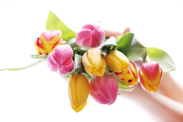 Piękny bukiet tulipanów, kolorowe tulipany, natura