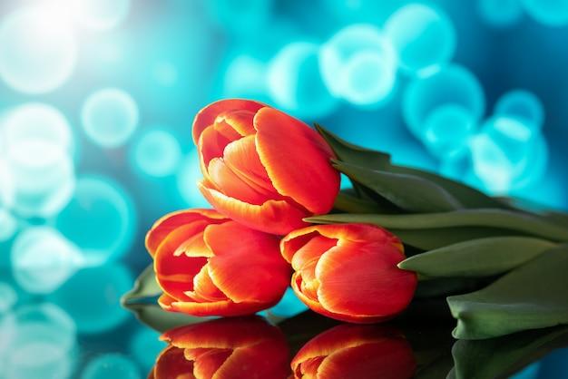 Piękny bukiet tulipanów na lustrze. piękne tło.