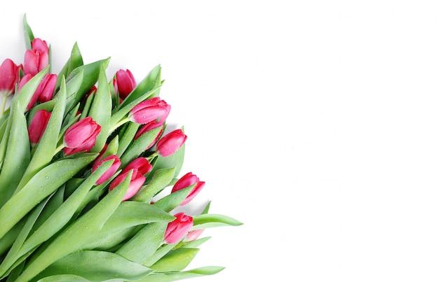 Piękny bukiet tulipanów z copyspace